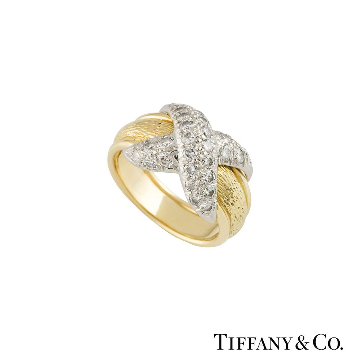 Tiffany & Co. Yellow Gold and Platinum Diamond Schlumberger Ring